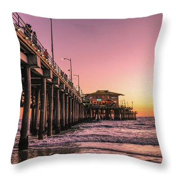 Throw Pillow featuring the photograph Beside The Pier By Mike-hope by Michael Hope