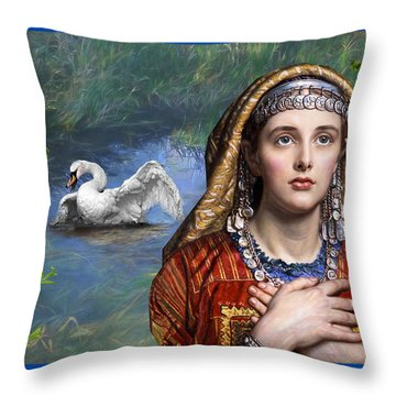 Beside The Swan Throw Pillow