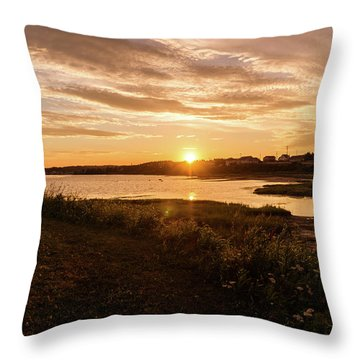 Throw Pillow featuring the photograph Besides North Rustico Harbor by Chris Bordeleau