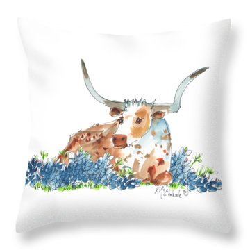 Bessie In The Bluebonnets Watercolor Painting By Kmcelwaine Throw Pillow