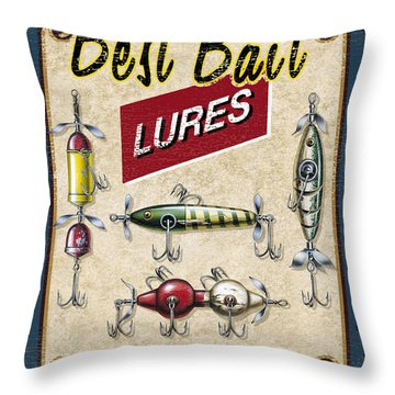 Best Bait Lures Throw Pillow by JQ Licensing