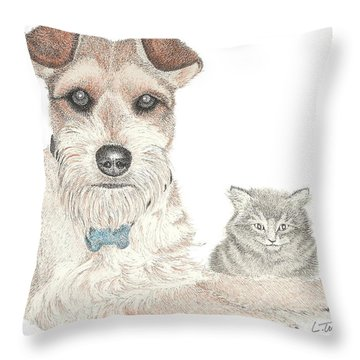 Best Buddies Throw Pillow by Lawrence Tripoli