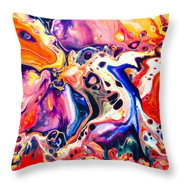 Best Friends  - Abstract Colorful Mixed Media Painting Throw Pillow