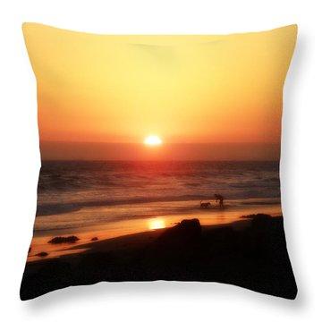 Best Friends At The Beach Throw Pillow