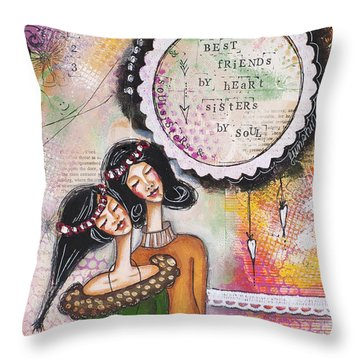Throw Pillow featuring the mixed media Best Friends By Heart, Sisters By Soul by Stanka Vukelic