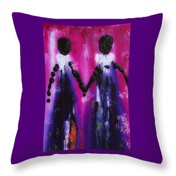 Best Friends Forever - Bff Love And Devotion Art Throw Pillow by Sharon Cummings