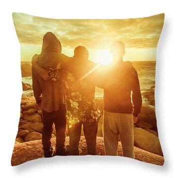 Best Friends Greeting The Sun Throw Pillow