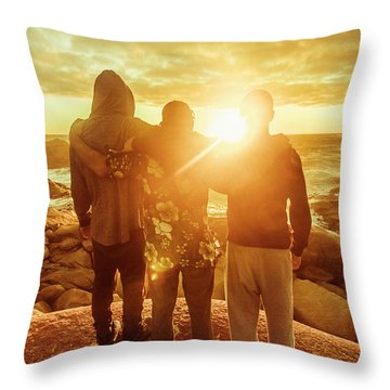 Best Friends Greeting The Sun Throw Pillow