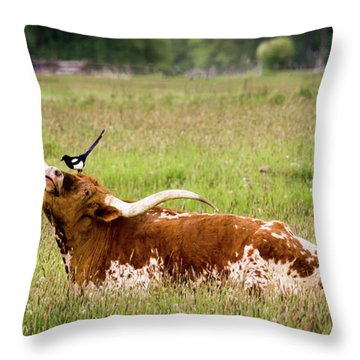 Best Friends - Texas Longhorn Magpie Throw Pillow by TL Mair