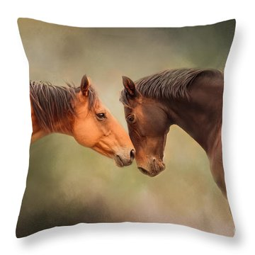 Best Friends - Two Horses Throw Pillow