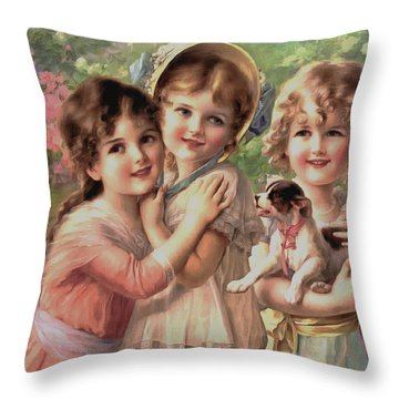 Three Girls Throw Pillows