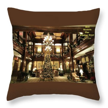 Best Western Plus Windsor Hotel Lobby - Christmas Throw Pillow