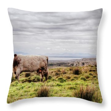 Besty My Irish Cow Throw Pillow by Natasha Bishop