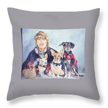 Beth And Her Babies Throw Pillow