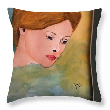 Throw Pillow featuring the painting Beth by Donald Paczynski