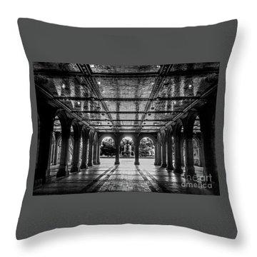 Bethesda Terrace Arcade 2 - Bw Throw Pillow