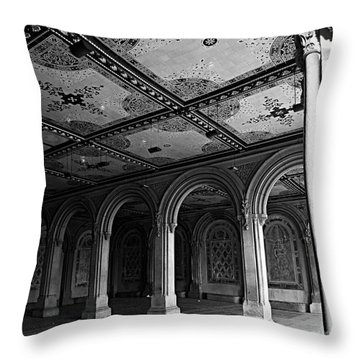 Bethesda Terrace Arcade In Central Park - Bw Throw Pillow