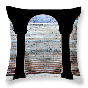 Bethesda Terrace Arcade Throw Pillow by Suzanne Stout