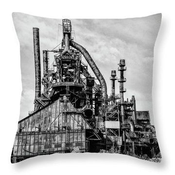 Bethlehem Pa Steel Plant  Side View In Black And White Throw Pillow by Bill Cannon