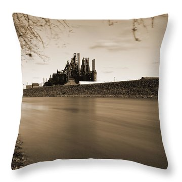 Bethlehem Steel Along The Lehigh Throw Pillow by Jennifer Ancker