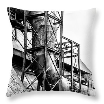 Bethlehem Steel - Black And White Industrial Throw Pillow by Bill Cannon