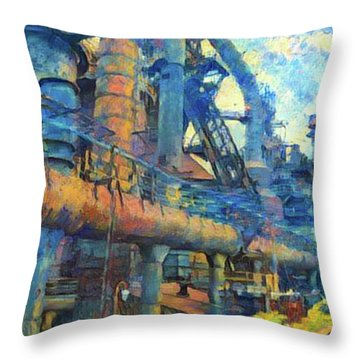 Bethlehem Steel Mill Watercolor Throw Pillow by Bill Cannon
