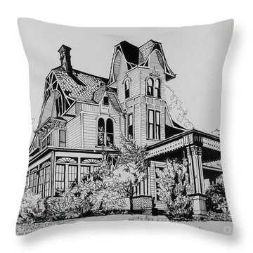 Throw Pillow featuring the drawing Betsy Ross' Home In Dover, N.j. by Alan Johnson