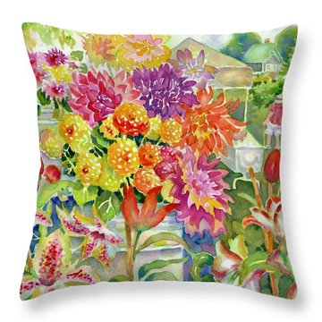 Betsy's Dahlias II Throw Pillow