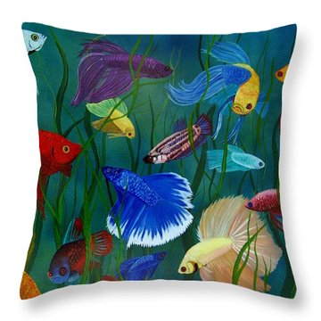 Bettas In Motion Throw Pillow by Debbie LaFrance