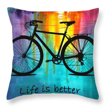 Better On A Bike Throw Pillow
