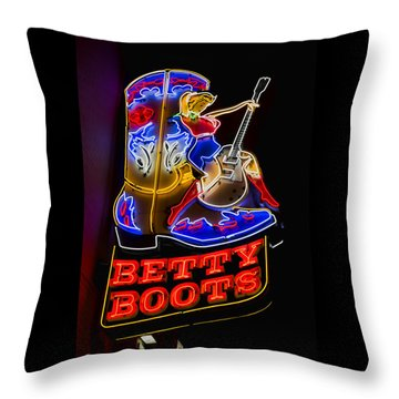Betty Boots Throw Pillow by Stephen Stookey