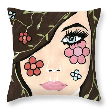 Betty - Contemporary Woman Throw Pillow