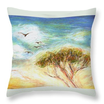 Throw Pillow featuring the drawing Betty's Tree by Denise Fulmer