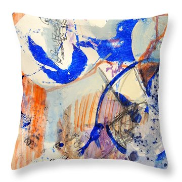 Throw Pillow featuring the mixed media Between Branches by Mary Schiros