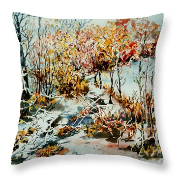 Between Frozen Waters Throw Pillow
