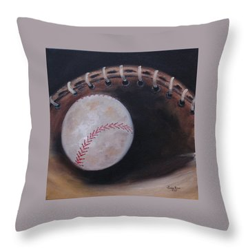Between Innings Throw Pillow by Judith Rhue
