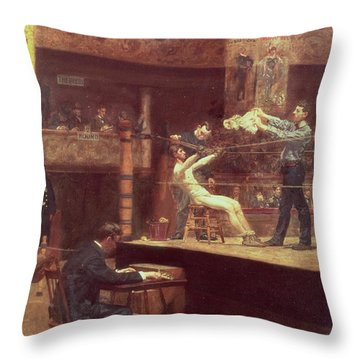 Between Rounds Throw Pillow by Thomas Cowperthwait Eakins