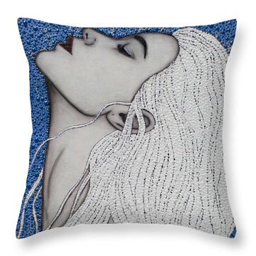 Throw Pillow featuring the mixed media Between The Sea And Sky by Natalie Briney