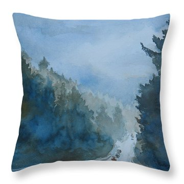 Between The Showers On Hwy 101 Throw Pillow by Jenny Armitage