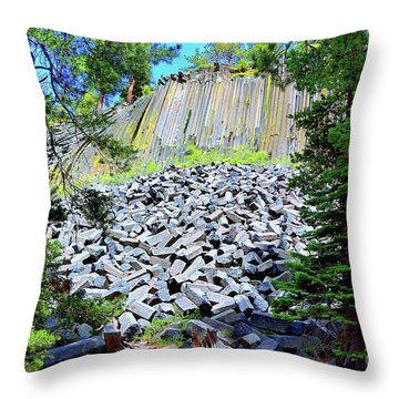 Between The Trees Devils Postpile Throw Pillow