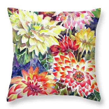 bety's Dahlias Throw Pillow