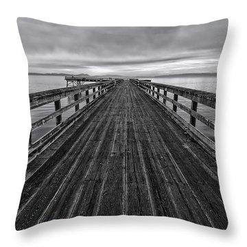 Bevan Fishing Pier - Black And White Throw Pillow