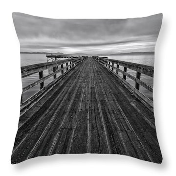 Bevan Fishing Pier - Black And White Throw Pillow