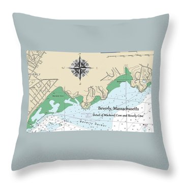 Beverly Cove Nautical Map Throw Pillow