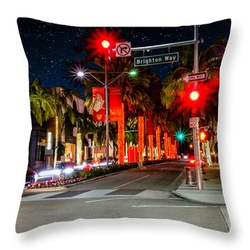 Beverly Hill Stars Throw Pillow by Robert Hebert