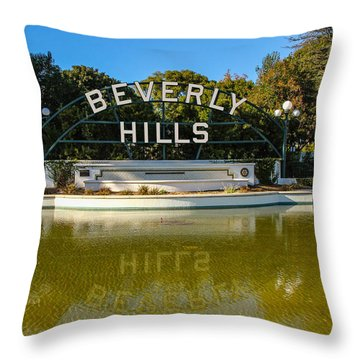 Beverly Hills Sign Throw Pillow by Robert Hebert