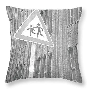 Beware Of The Children Throw Pillow