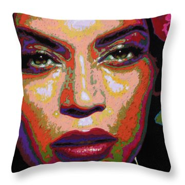 Beyonce Throw Pillow by Maria Arango