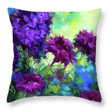 Beyond Sunset Ruby Carnations Throw Pillow by Nancy Medina