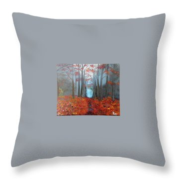 Throw Pillow featuring the painting Beyond The Blue by Debbie